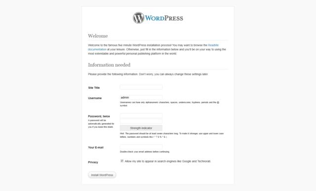 WordPress Installation photo of Step 5