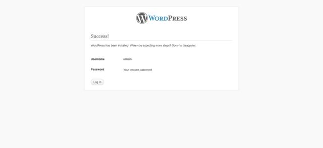 WordPress installation Step 6
