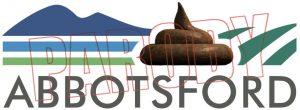 parody logo of abbotsford with poop emoticon