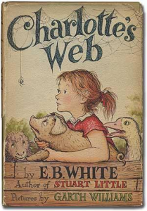 The front cover of the Charlotte's Web book.